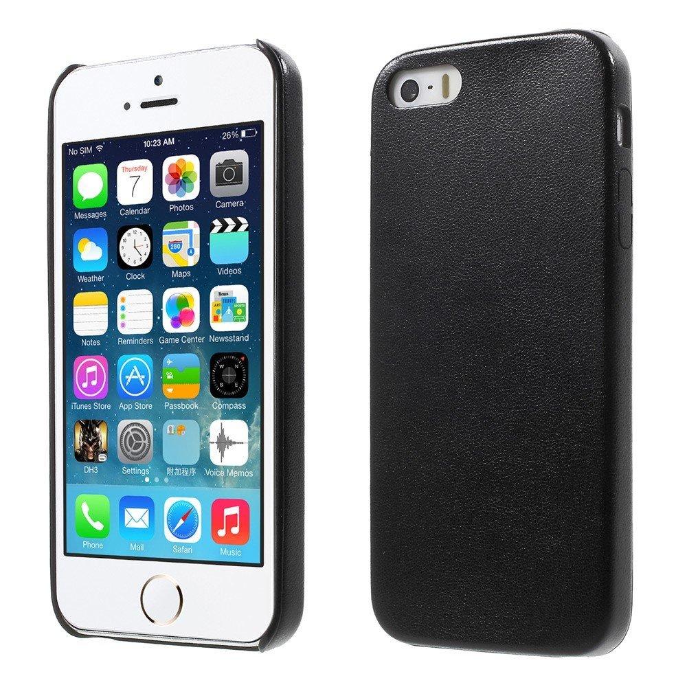 Apple iPhone 5/5s/SE Skinnbeklædt Plastikk Deksel - Svart