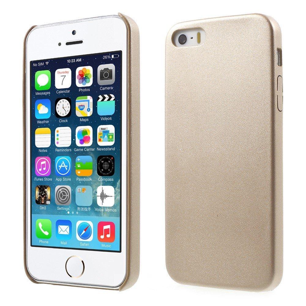 Apple iPhone 5/5s/SE Skinnbeklædt Plastikk Deksel - Champagne