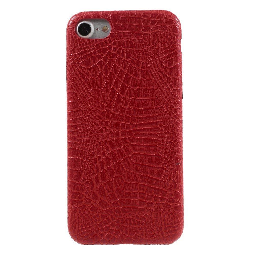 Apple iPhone 7/8 PU skinn Deksel - Rød krokodille