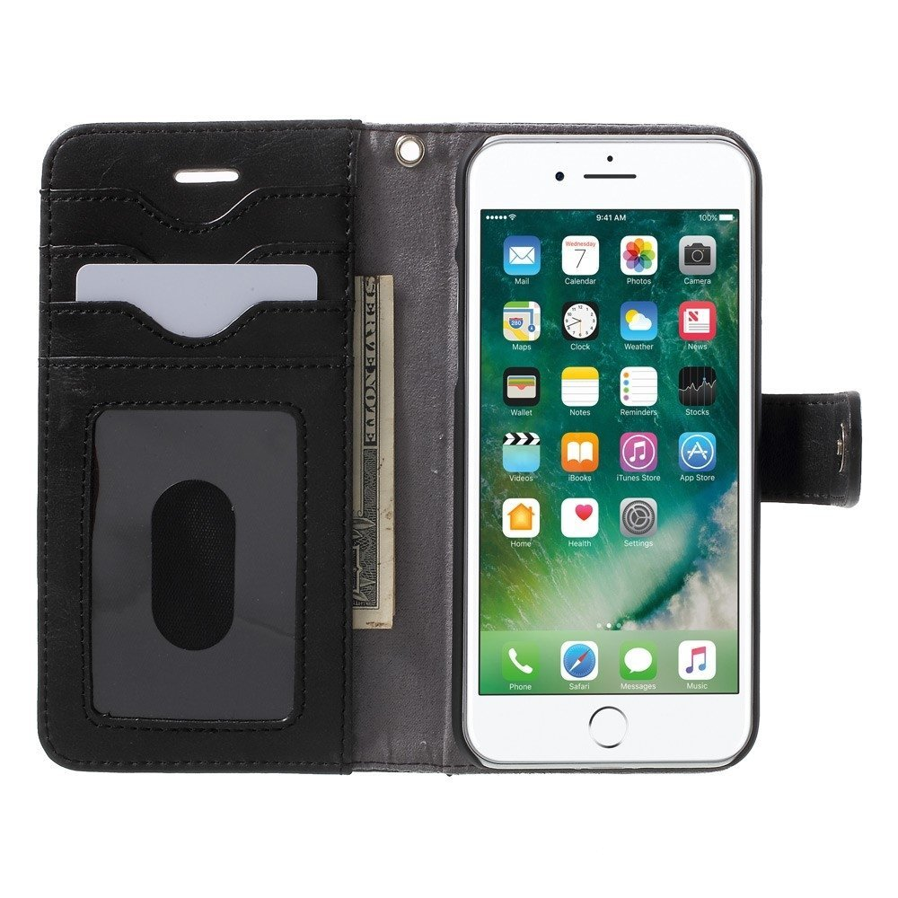 Apple iPhone 7/8 2 i 1 Deluxe Flip Cover Med Pung - Sort