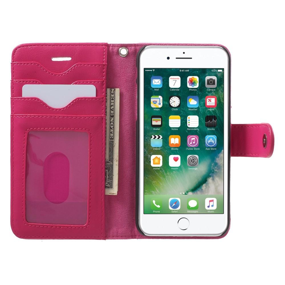 Apple iPhone 7 2 i 1 Deluxe Flip Deksel Med Pung - Rosa