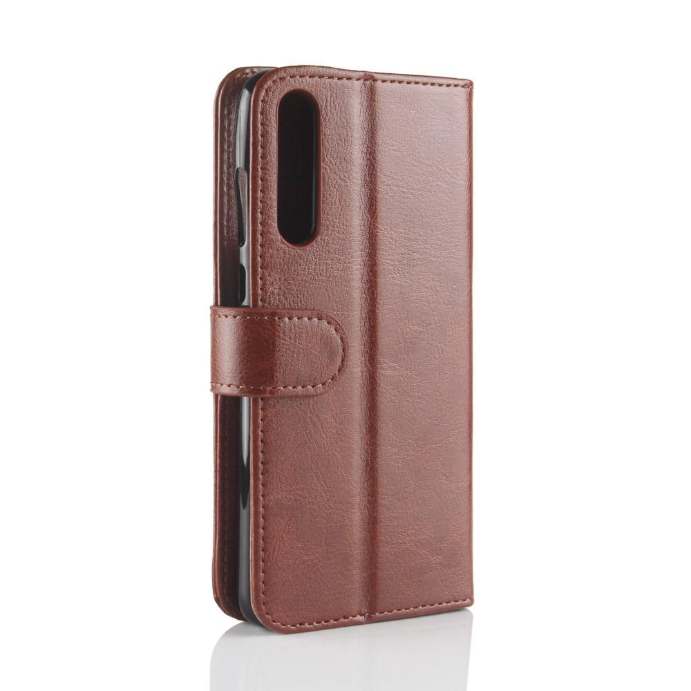Huawei P20 Pro PU Skinn Flip Deksel m. Stand og Kortholder - Brun