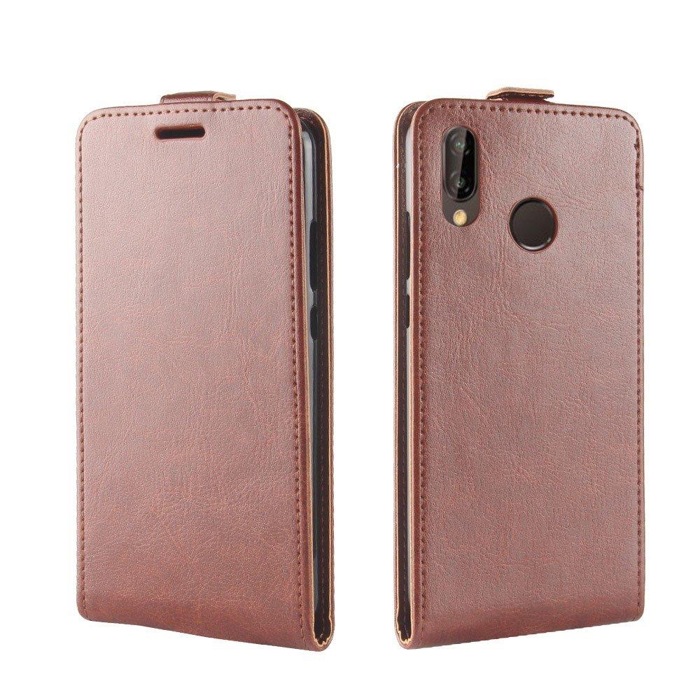 Huawei P20 Lite PU Skinn Flip Deksel m. Stand og Kortholder - Brun