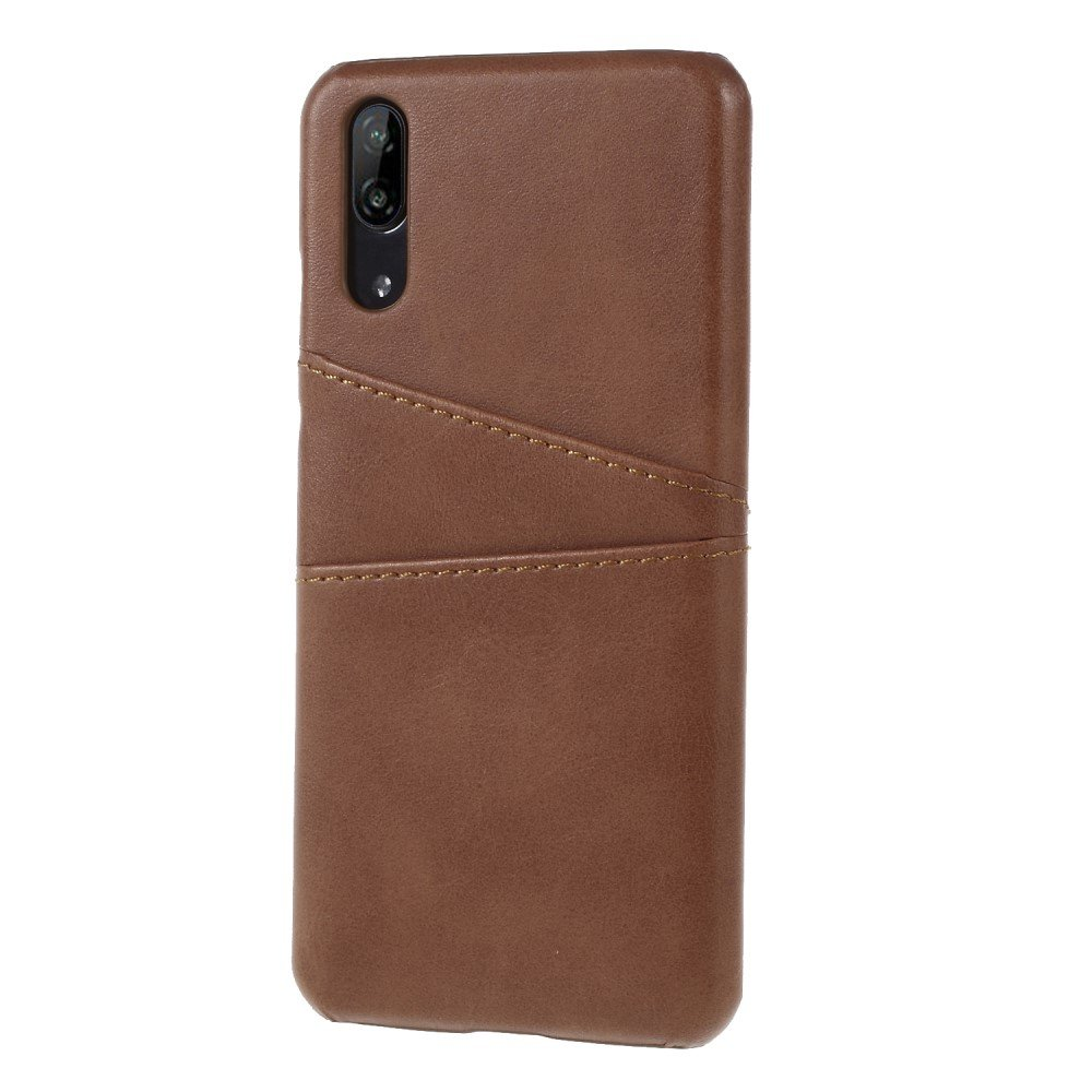 Huawei P20 PU Skinn Deksel m. Kortholder - Brun