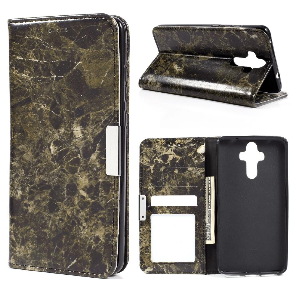 Huawei Mate 9 PU Skinn Marmor Flip Deksel - Svart/brun