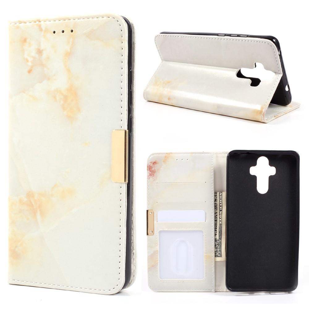 Huawei Mate 9 PU Skinn Marmor Flip Deksel - Brun/Hvit