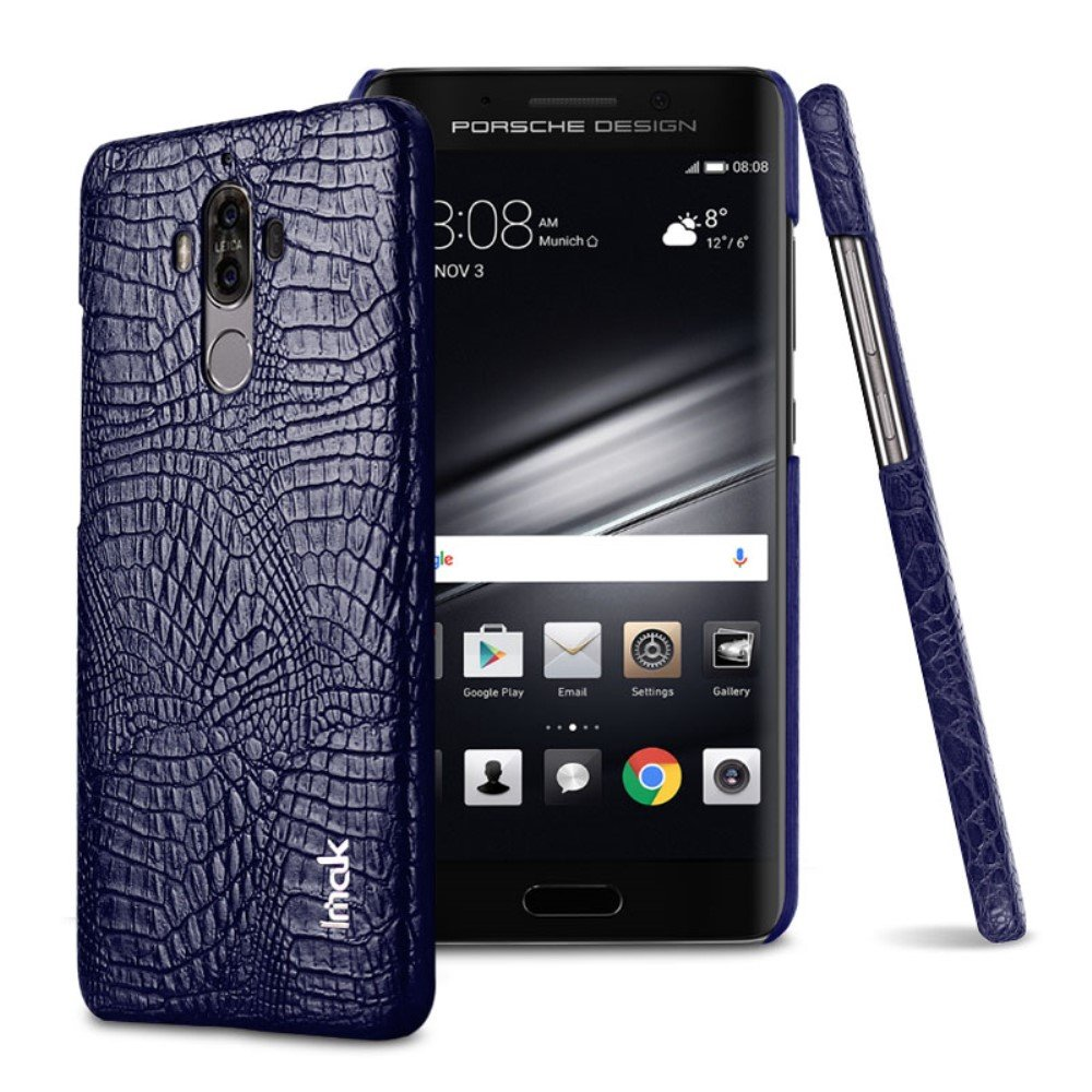 Huawei Mate 9 IMAK Plastikk Deksel m. PU Skinn - Blå Krokodille