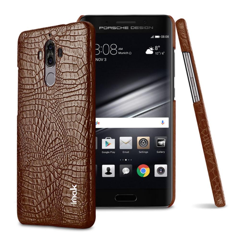 Huawei Mate 9 IMAK Plastikk Deksel m. PU Skinn - Brun Krokodille