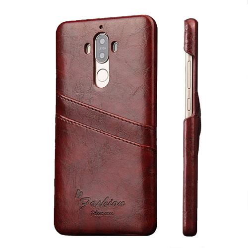 Huawei Mate 9 Skinn Hard Case Deksel m. Kortholder - Brun