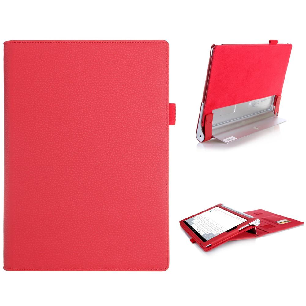 """Lenovo Yoga Nettbrett 2 10"""" Multifunksjonel Leather Case Etui Rød"""